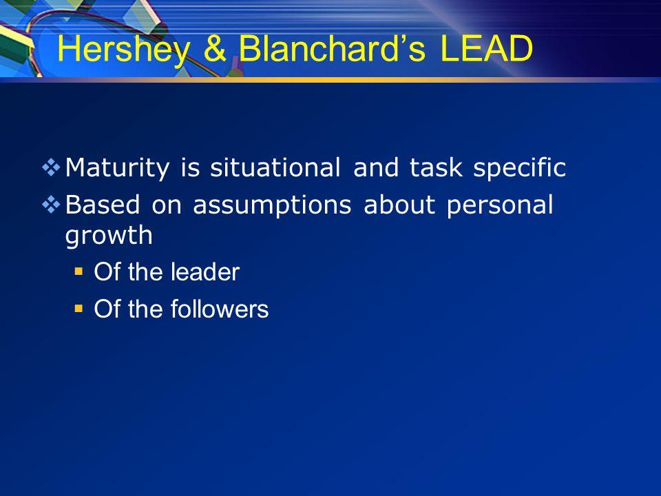 Leadership behavior  Task/Directive Behavior  Relationship/Supportive Behavior
