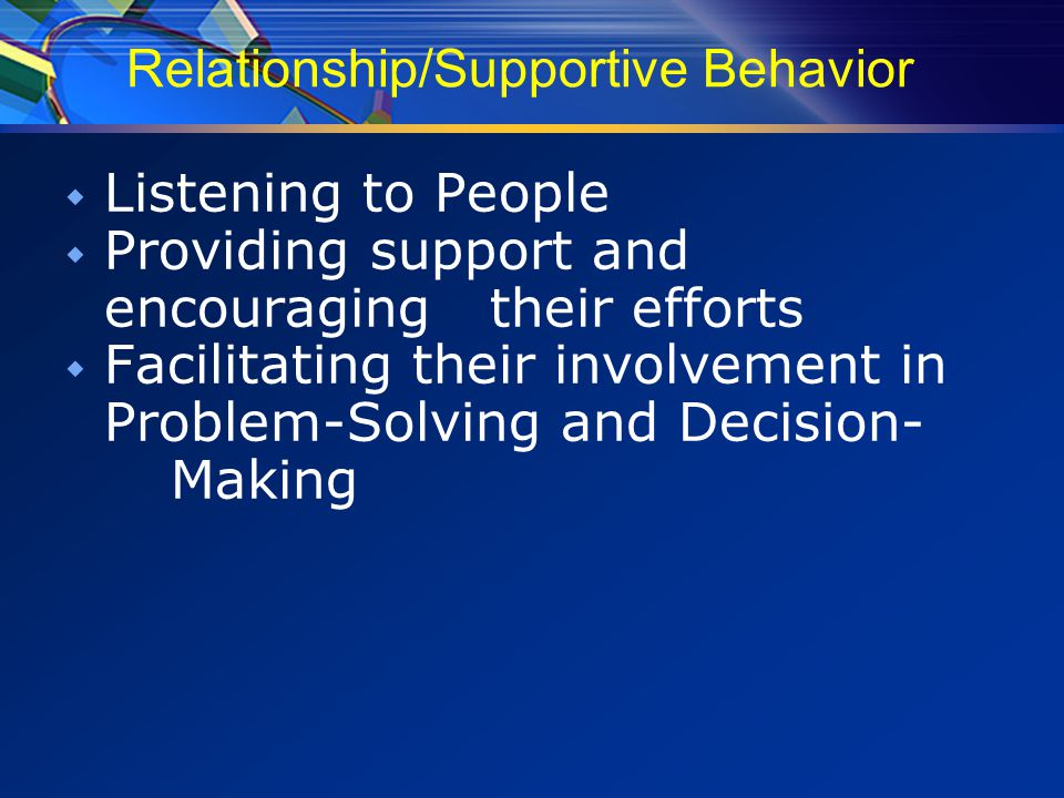 Relationship/Supportive Behavior  Listening to People  Providing support and encouraging their efforts  Facilitating their involvement in Problem-Solving and Decision- Making