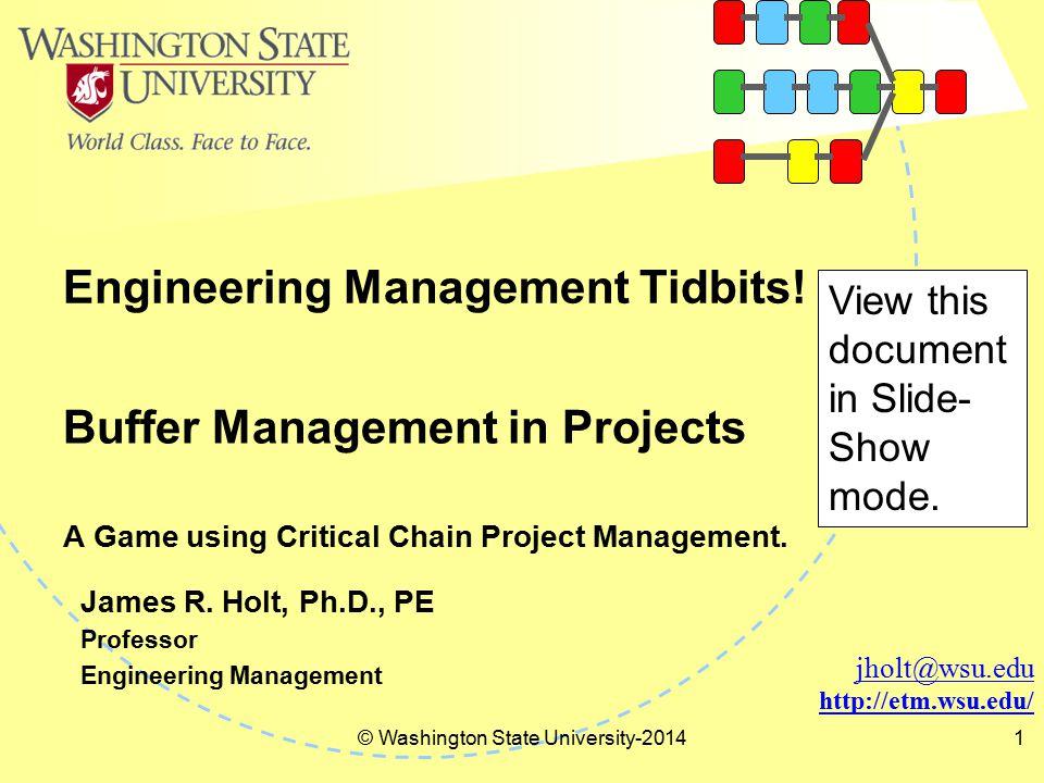 Engineering Management Tidbits! © Washington State University-20141 jholt@wsu.edu http://etm.wsu.edu/ James R. Holt, Ph.D., PE Professor Engineering M