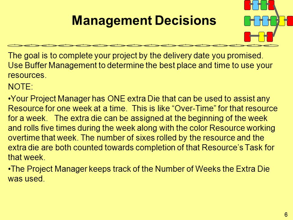 Management Decisions 6 The goal is to complete your project by the delivery date you promised. Use Buffer Management to determine the best place and t