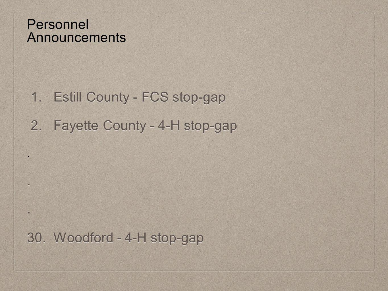 Personnel Announcements 1. Estill County - FCS stop-gap 1.