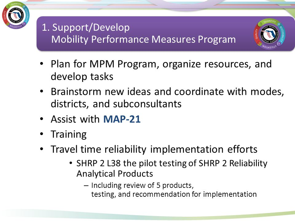 Support Mobility Performance Measures Program Plan for MPM Program, organize resources, and develop tasks Brainstorm new ideas and coordinate with mod