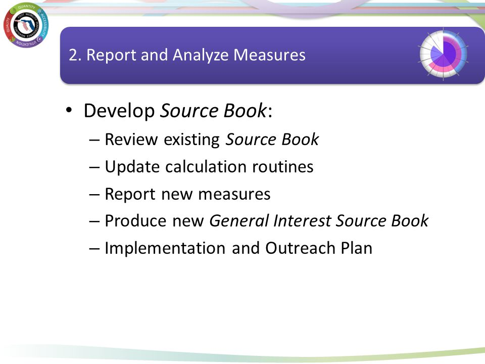 Report and Analyze Measures Develop Source Book: – Review existing Source Book – Update calculation routines – Report new measures – Produce new Gener