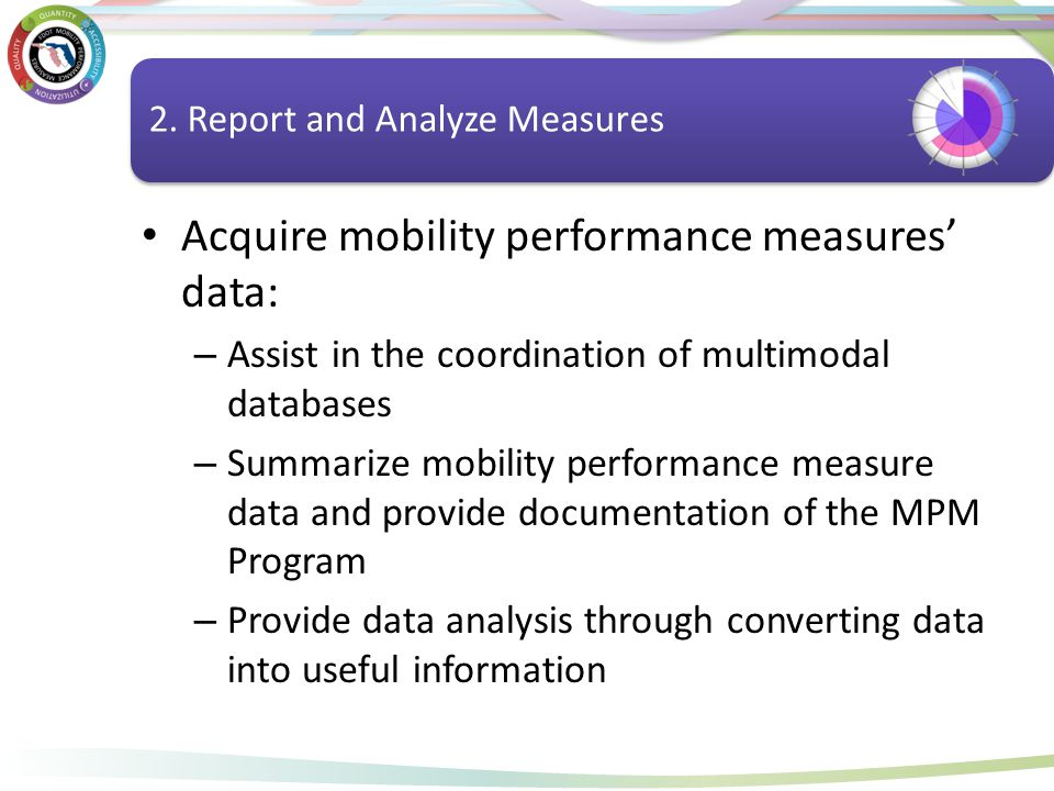 Report and Analyze Measures Acquire mobility performance measures' data: – Assist in the coordination of multimodal databases – Summarize mobility per