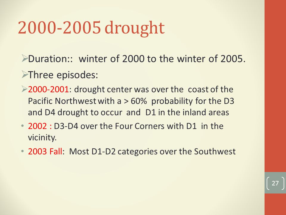 drought  Duration:: winter of 2000 to the winter of 2005.