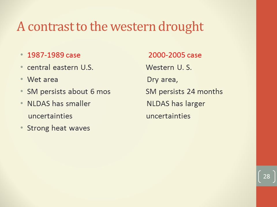 A contrast to the western drought case case central eastern U.S.