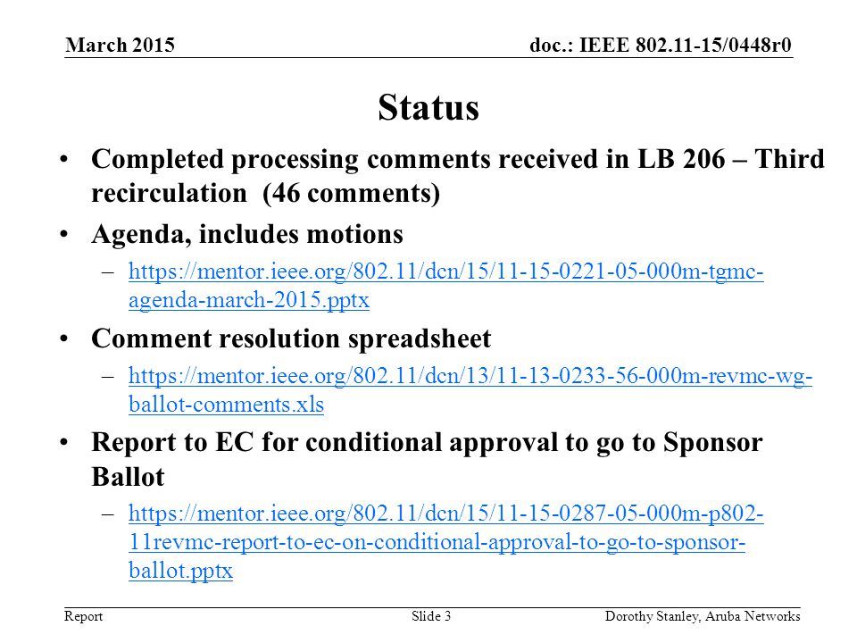 doc.: IEEE 802.11-15/0448r0 Report Status Completed processing comments received in LB 206 – Third recirculation (46 comments) Agenda, includes motion