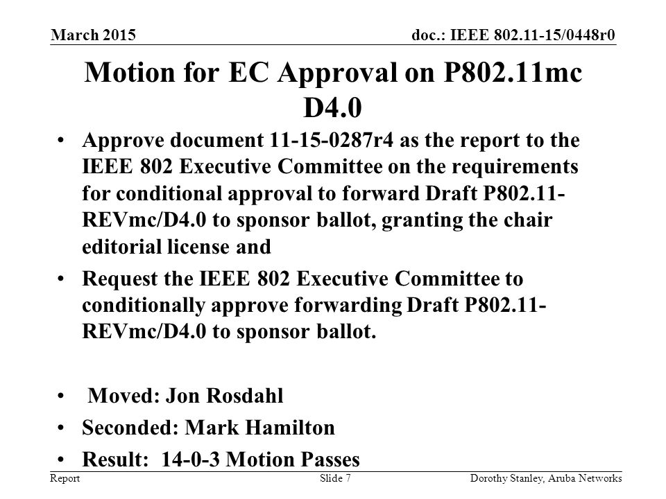 doc.: IEEE 802.11-15/0448r0 Report March 2015 Dorothy Stanley, Aruba NetworksSlide 7 Motion for EC Approval on P802.11mc D4.0 Approve document 11-15-0