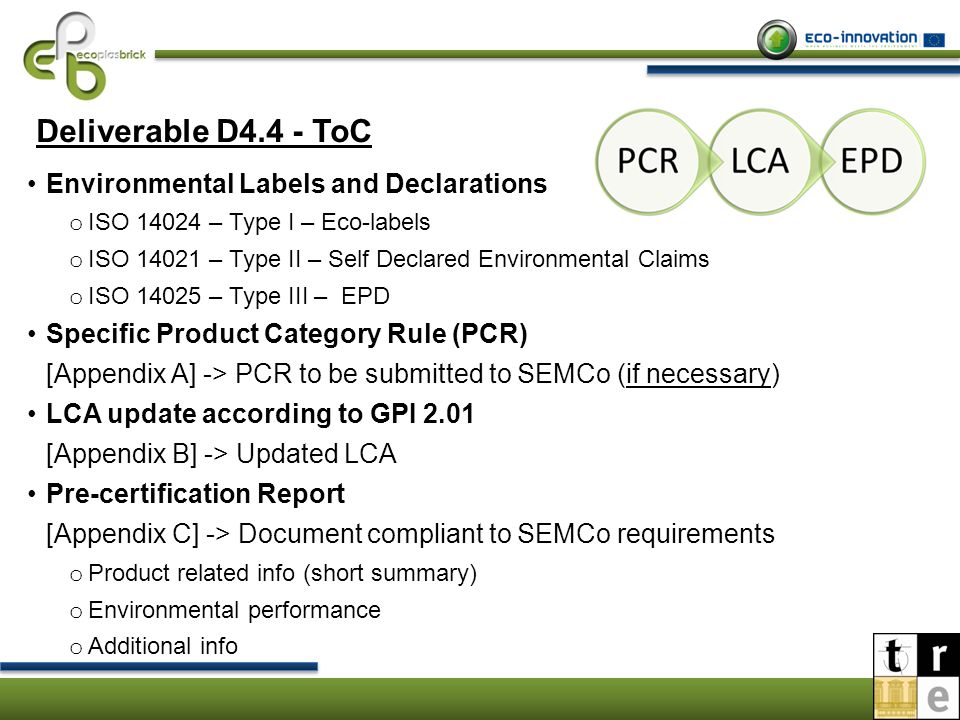 Environmental Labels and Declarations Type I ISO 14024 Type II ISO 14021 Type III ISO 14025 It establishes the principles and procedures (product categories, product environmental criteria and product function characteristics) for assessing and demonstrating compliance (certification procedures) to award a label It deals with all environmental claims voluntarily made for products and therefore self-declared It establishes principles and procedures for issuing quantified environmental info about products, based on life-cycle data, presenting the environmental performance of a product (EPD)