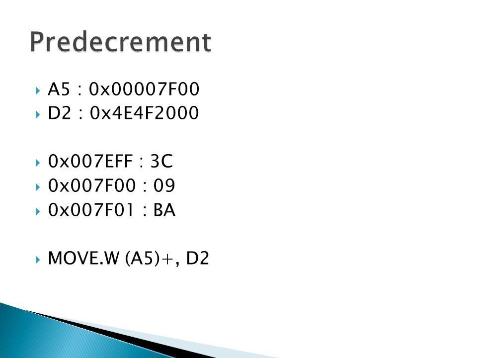  A5 : 0x00007F00  D2 : 0x4E4F2000  0x007EFF : 3C  0x007F00 : 09  0x007F01 : BA  MOVE.W (A5)+, D2