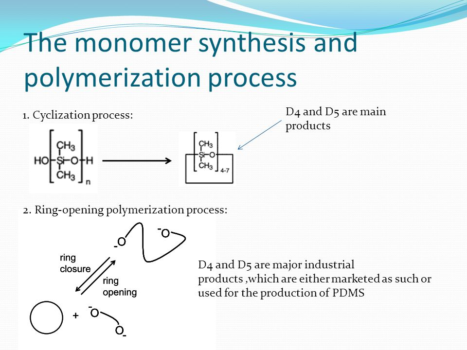 The monomer synthesis and polymerization process D4 and D5 are major industrial products,which are either marketed as such or used for the production of PDMS D4 and D5 are main products 1.