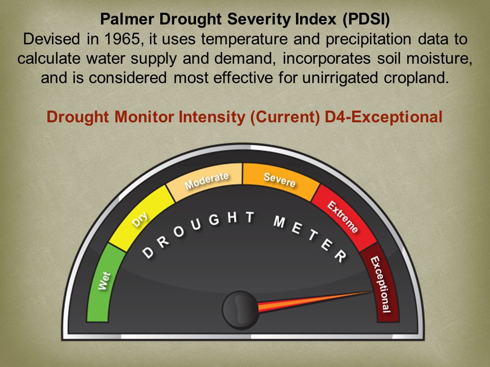 Palmer Drought Severity Index (PDSI) Devised in 1965, it uses temperature and precipitation data to calculate water supply and demand, incorporates soil moisture, and is considered most effective for unirrigated cropland.