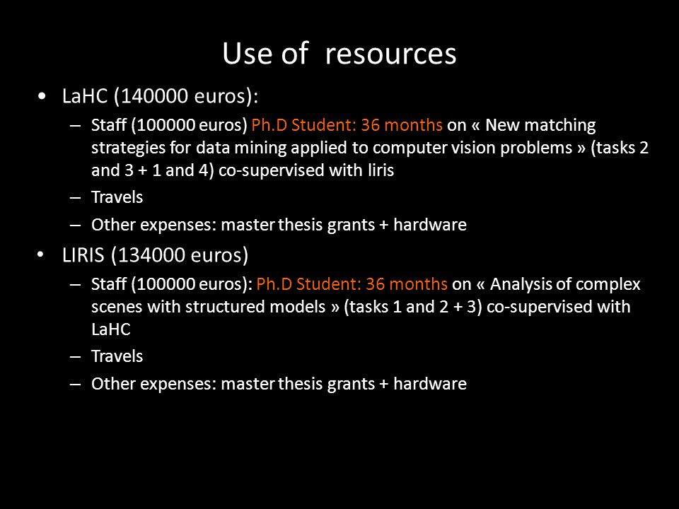 Use of resources LaHC (140000 euros): – Staff (100000 euros) Ph.D Student: 36 months on « New matching strategies for data mining applied to computer