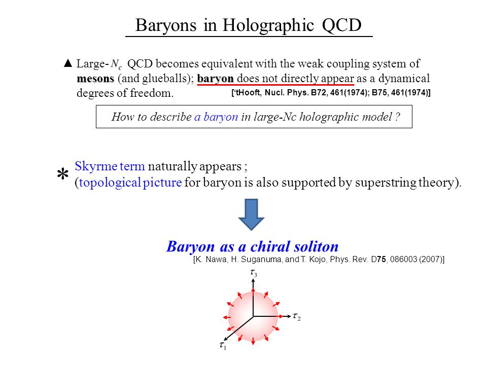 Baryons in Holographic QCD Large- QCD becomes equivalent with the weak coupling system of mesonsbaryon mesons (and glueballs); baryon does not directly appear as a dynamical degrees of freedom.