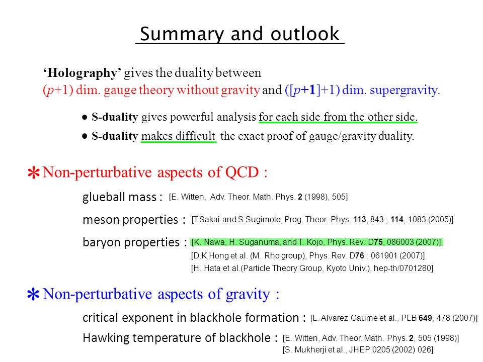 Summary and outlook 'Holography' gives the duality between (p+1) dim.