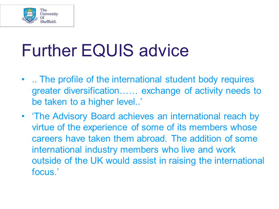 Further EQUIS advice..
