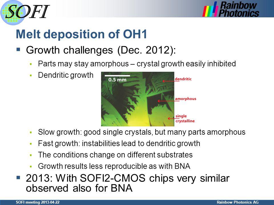 SOFI meeting 2013-04-22 Rainbow Photonics AG Melt deposition of OH1  Growth challenges (Dec.