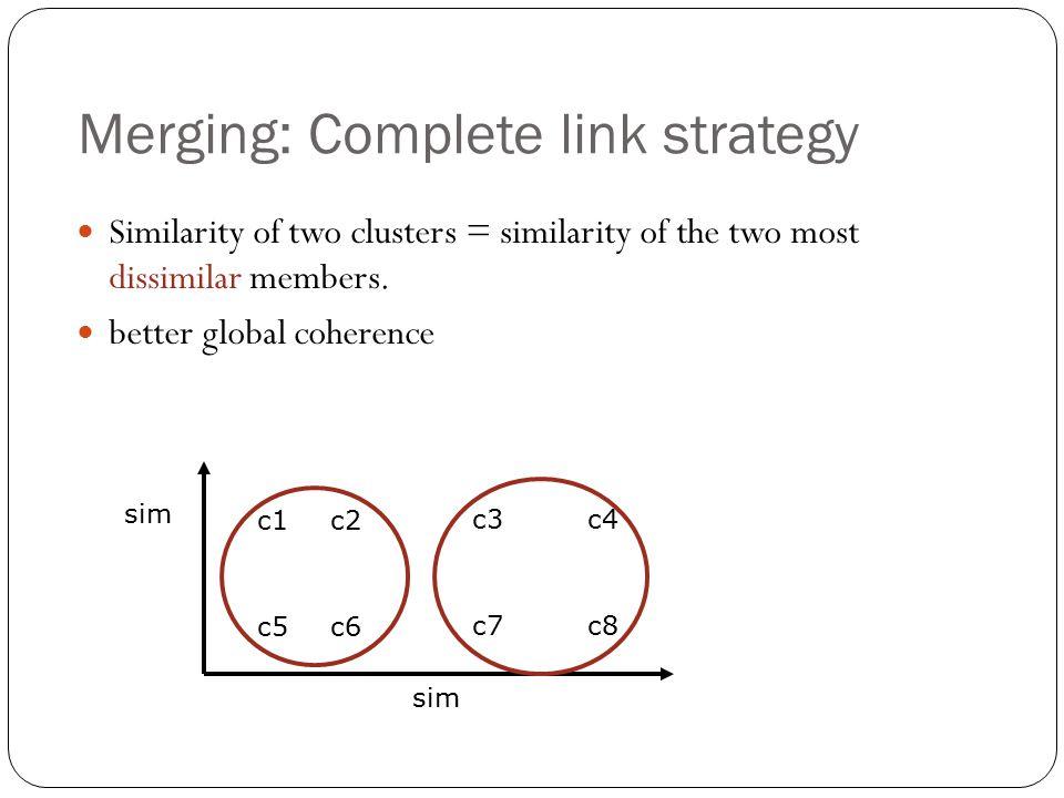 Merging: Complete link strategy Similarity of two clusters = similarity of the two most dissimilar members. better global coherence c1 c3 c2 c4 sim c5