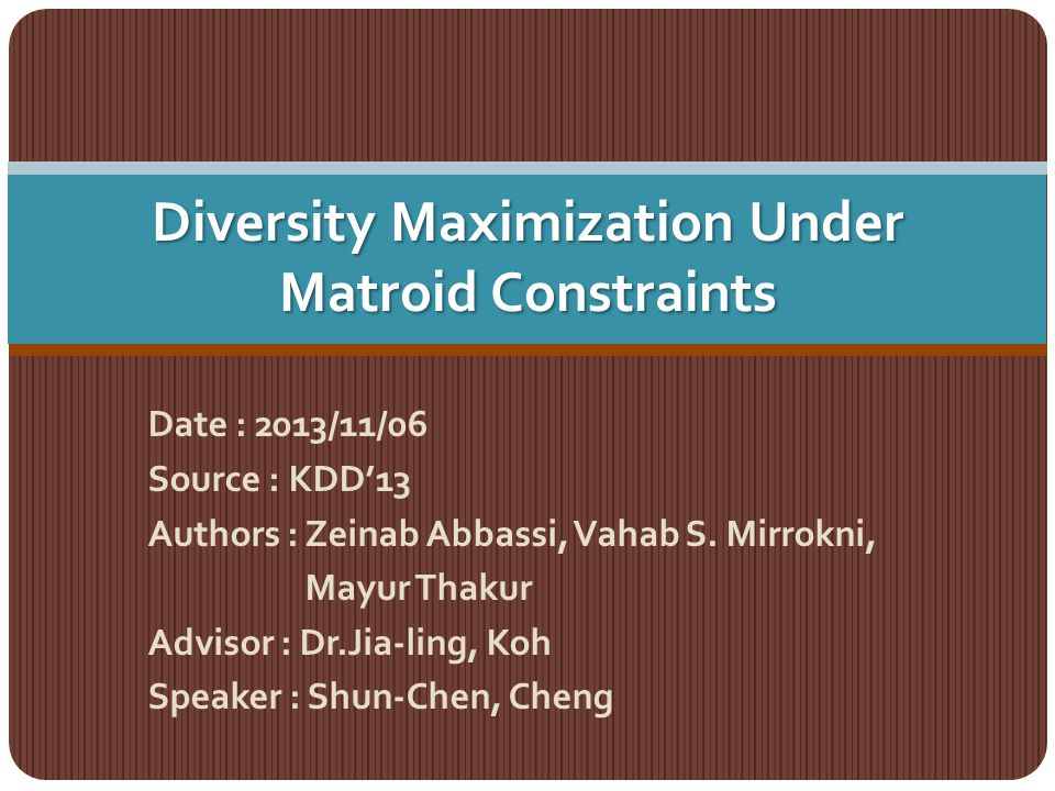 Conclusions study the diversity maximization problem under matroid constraints which is useful in a range of applications present the first constant-factor approximation algorithm for this problem applying a new local search technique which implies the first constant-factor approximation algorithm for the maximum dispersion problem subject to matroid constraints 22