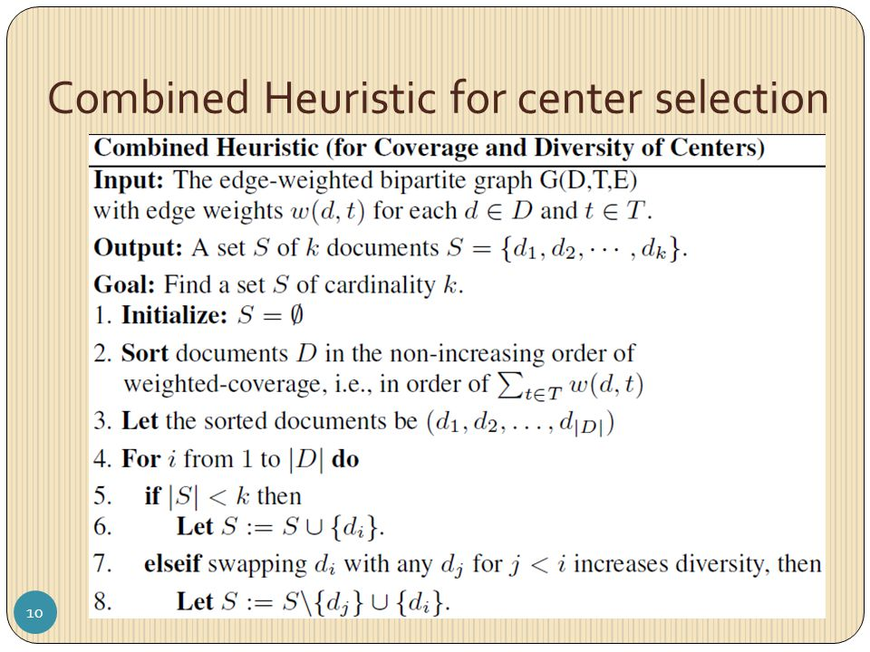Combined Heuristic for center selection 10