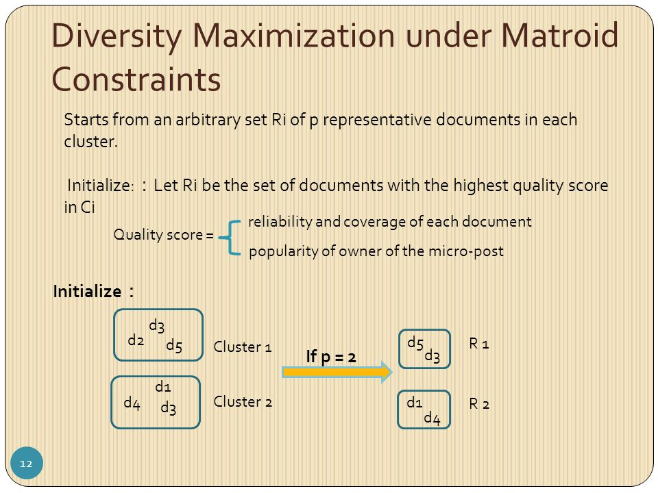 Diversity Maximization under Matroid Constraints Starts from an arbitrary set Ri of p representative documents in each cluster. Initialize: : Let Ri b