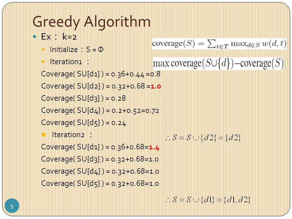 Greedy Algorithm Ex : k=2 Initialize : S = Φ Iteration1 : Coverage( SU{d1} ) = 0.36+0.44 =0.8 Coverage( SU{d2} ) = 0.32+0.68 =1.0 Coverage( SU{d3} ) = 0.28 Coverage( SU{d4} ) = 0.2+0.52=0.72 Coverage( SU{d5} ) = 0.24 Iteration2 : Coverage( SU{d1} ) = 0.36+0.68=1.4 Coverage( SU{d3} ) = 0.32+0.68=1.0 Coverage( SU{d4} ) = 0.32+0.68=1.0 Coverage( SU{d5} ) = 0.32+0.68=1.0 9