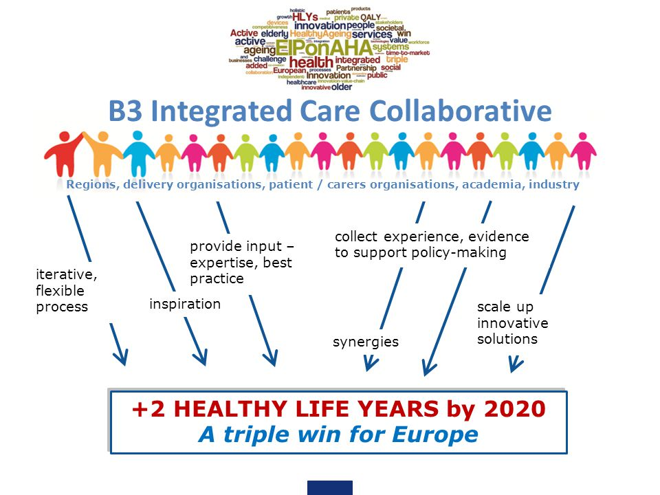 +2 HEALTHY LIFE YEARS by 2020 A triple win for Europe +2 HEALTHY LIFE YEARS by 2020 A triple win for Europe provide input – expertise, best practice inspiration B3 Integrated Care Collaborative iterative, flexible process collect experience, evidence to support policy-making scale up innovative solutions synergies Regions, delivery organisations, patient / carers organisations, academia, industry