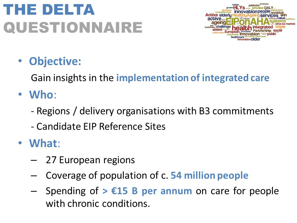 THE DELTA QUESTIONNAIRE Objective: Gain insights in the implementation of integrated care Who: - Regions / delivery organisations with B3 commitments - Candidate EIP Reference Sites What: – 27 European regions – Coverage of population of c.