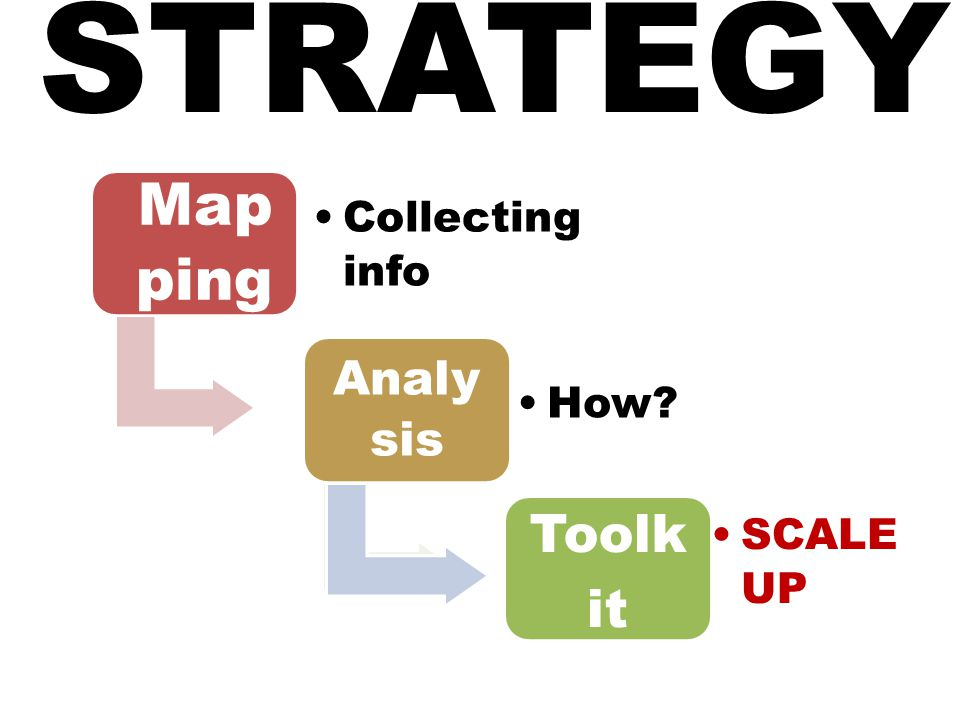 STRATEGY Map ping Collecting info Analy sis How Toolk it SCALE UP