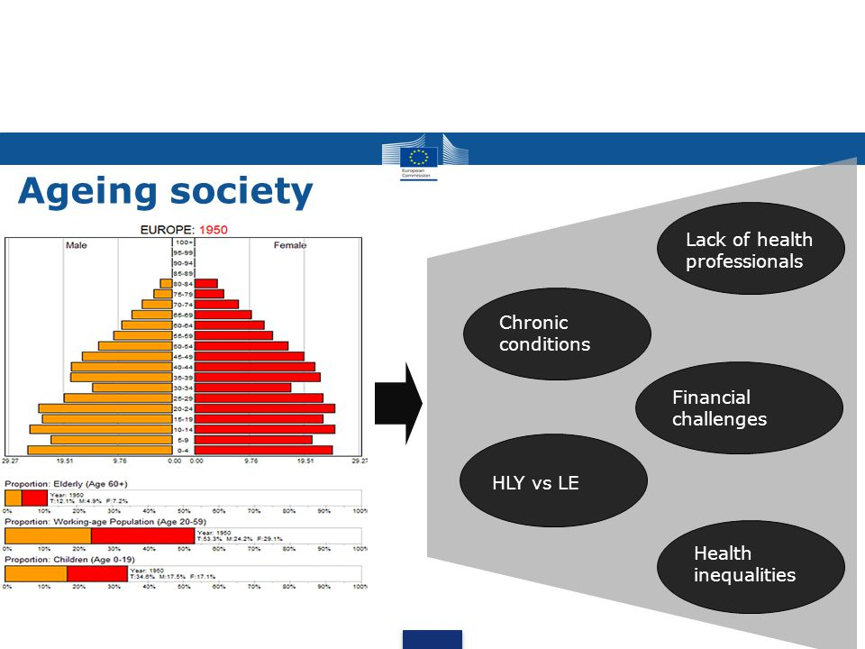 Ageing society Chronic conditions Lack of health professionals Financial challenges Health inequalities HLY vs LE