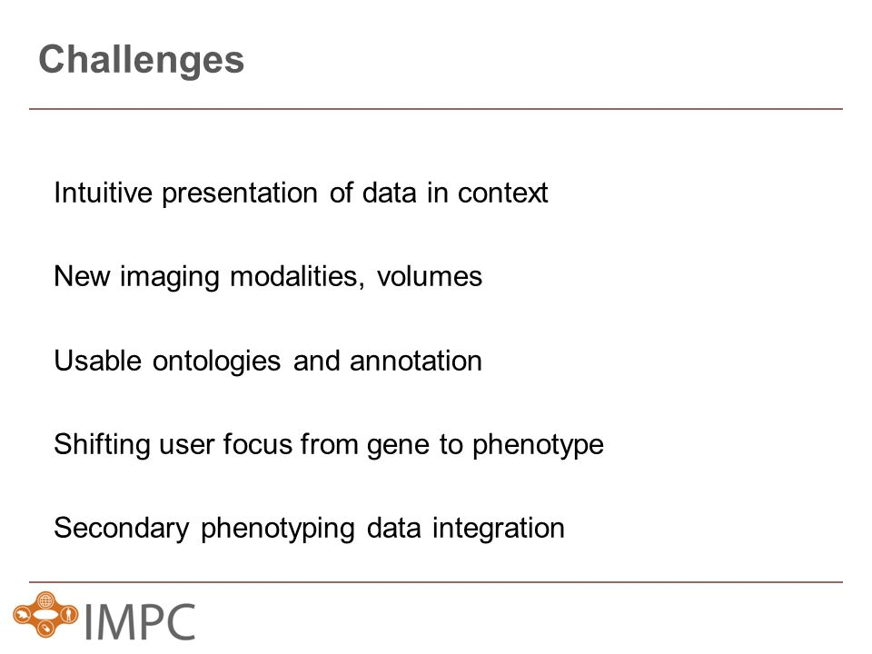 Intuitive presentation of data in context New imaging modalities, volumes Usable ontologies and annotation Shifting user focus from gene to phenotype Secondary phenotyping data integration Challenges