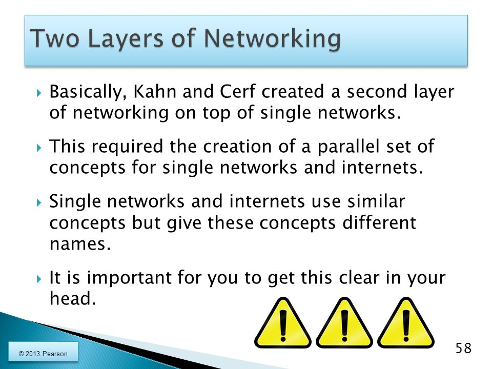  Basically, Kahn and Cerf created a second layer of networking on top of single networks.  This required the creation of a parallel set of concepts