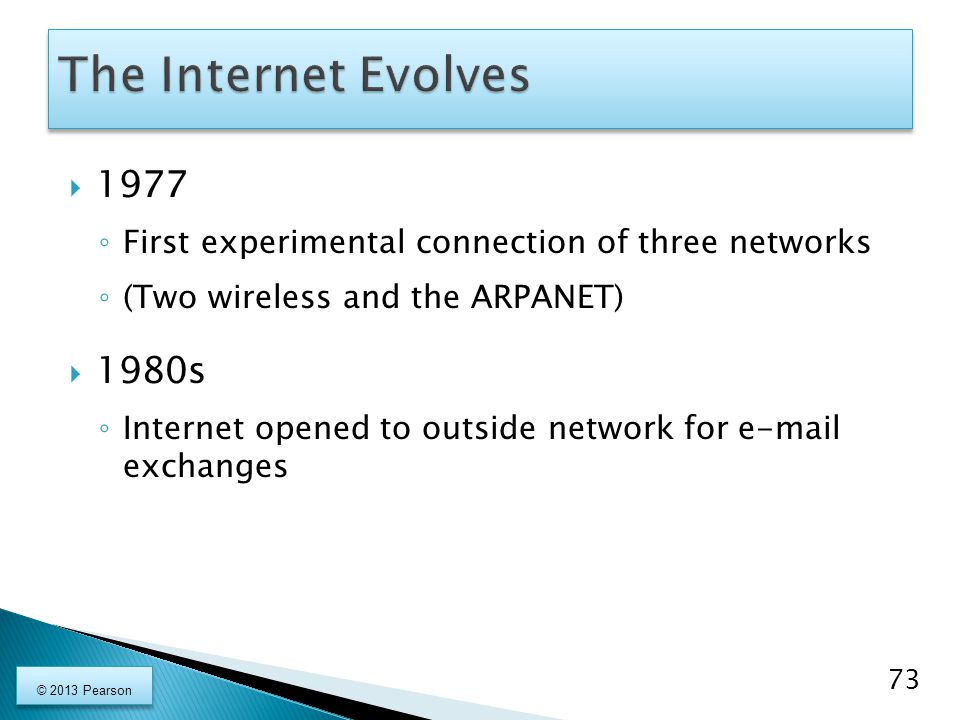  1977 ◦ First experimental connection of three networks ◦ (Two wireless and the ARPANET)  1980s ◦ Internet opened to outside network for e-mail exch