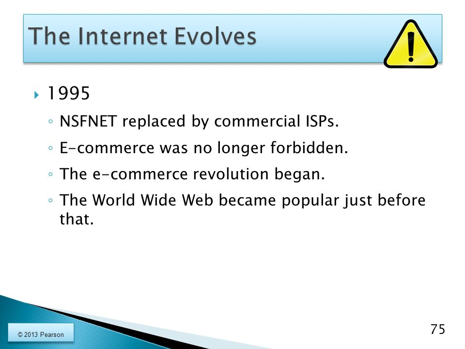 1995 ◦ NSFNET replaced by commercial ISPs. ◦ E-commerce was no longer forbidden. ◦ The e-commerce revolution began. ◦ The World Wide Web became popu