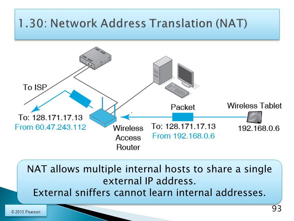 NAT allows multiple internal hosts to share a single external IP address.