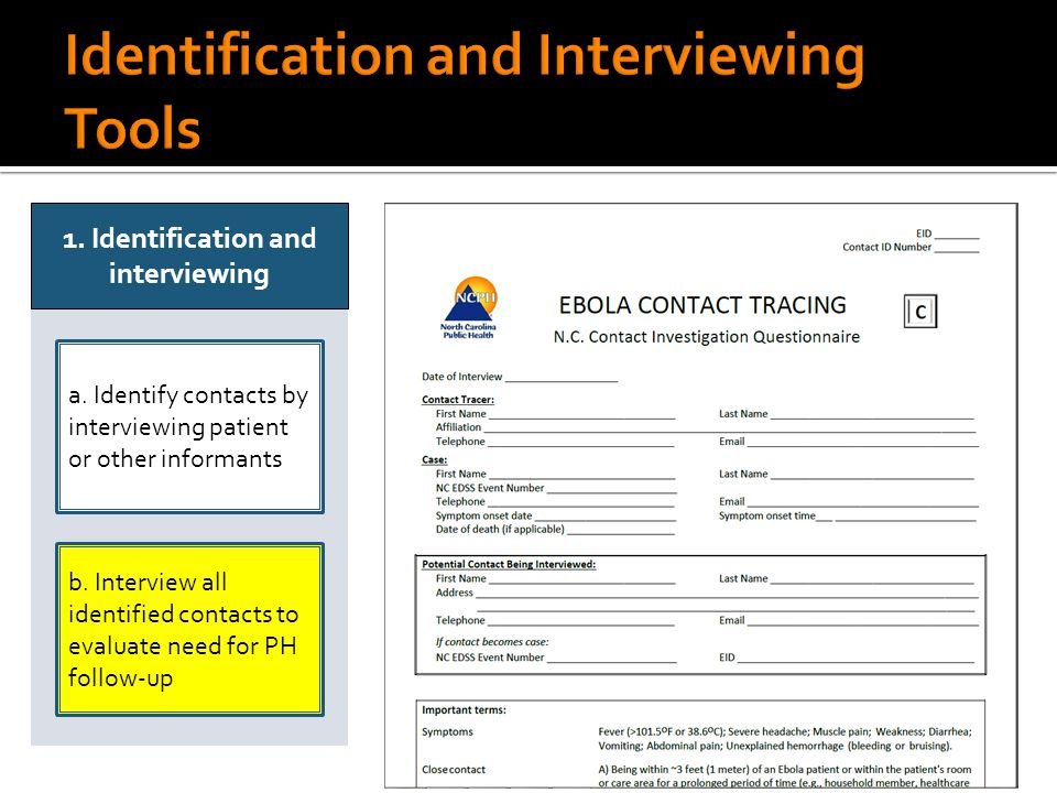 a. Identify contacts by interviewing patient or other informants 1. Identification and interviewing b. Interview all identified contacts to evaluate n
