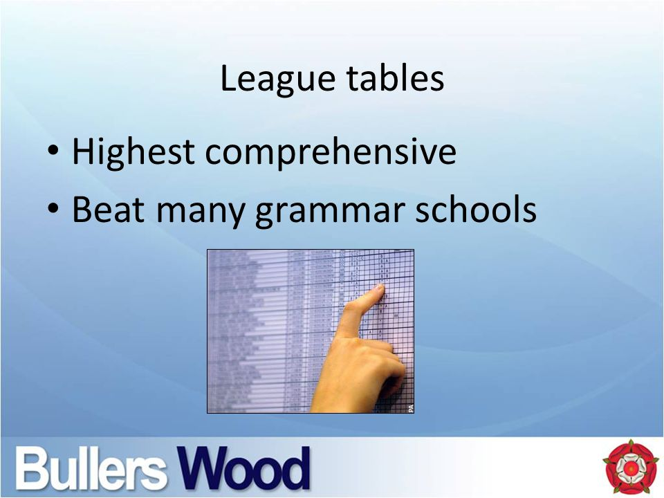 League tables Highest comprehensive Beat many grammar schools