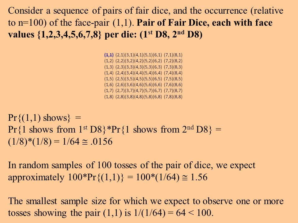 Consider a sequence of pairs of fair dice, and the occurrence (relative to n=100) of the face-pair (1,1).