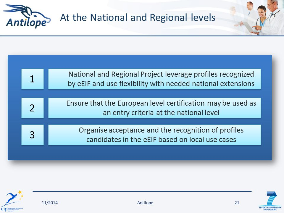 At the National and Regional levels 21 National and Regional Project leverage profiles recognized by eEIF and use flexibility with needed national ext