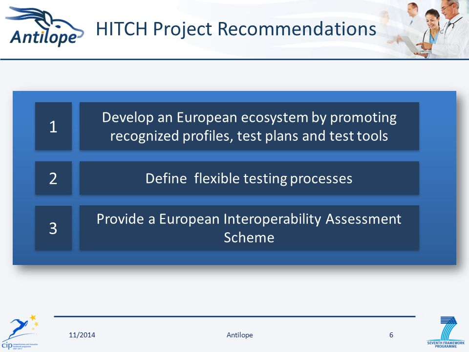 HITCH Project Recommendations 6 Define flexible testing processes 1 1 2 2 Develop an European ecosystem by promoting recognized profiles, test plans and test tools 3 3 Provide a European Interoperability Assessment Scheme Antilope11/2014