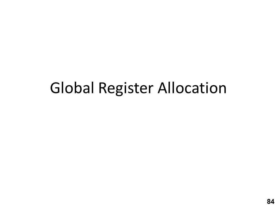Global Register Allocation 84