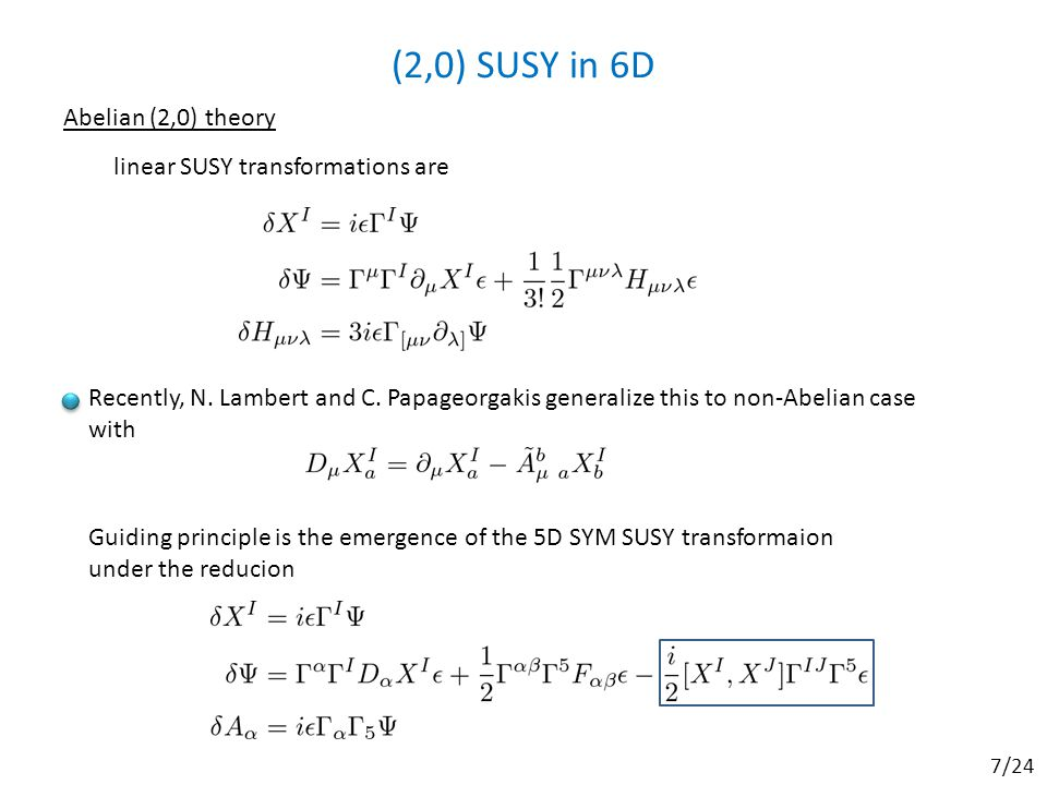 (2,0) SUSY in 6D Abelian (2,0) theory Recently, N.
