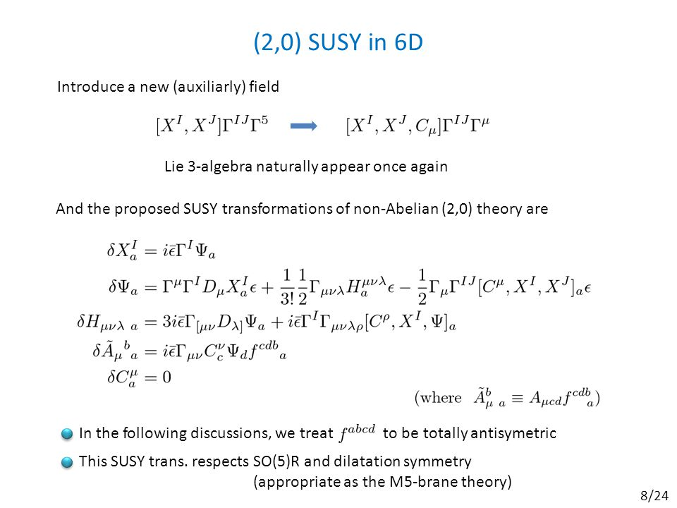 (2,0) SUSY in 6D Lie 3-algebra naturally appear once again Introduce a new (auxiliarly) field And the proposed SUSY transformations of non-Abelian (2,0) theory are In the following discussions, we treat to be totally antisymetric This SUSY trans.