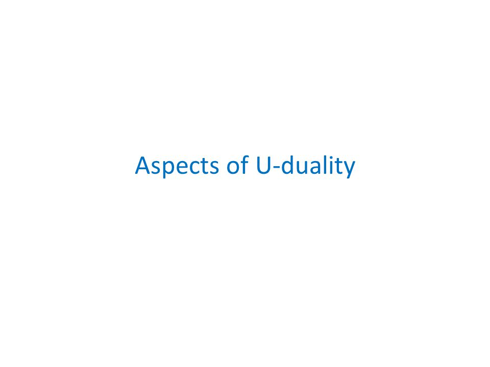 Aspects of U-duality