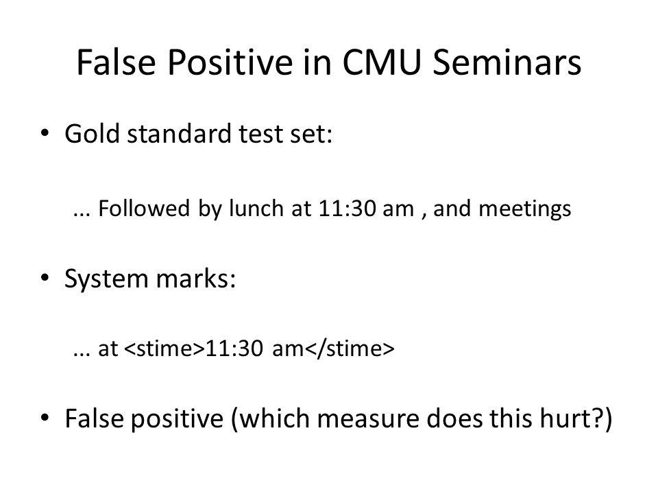 False Positive in CMU Seminars Gold standard test set:...
