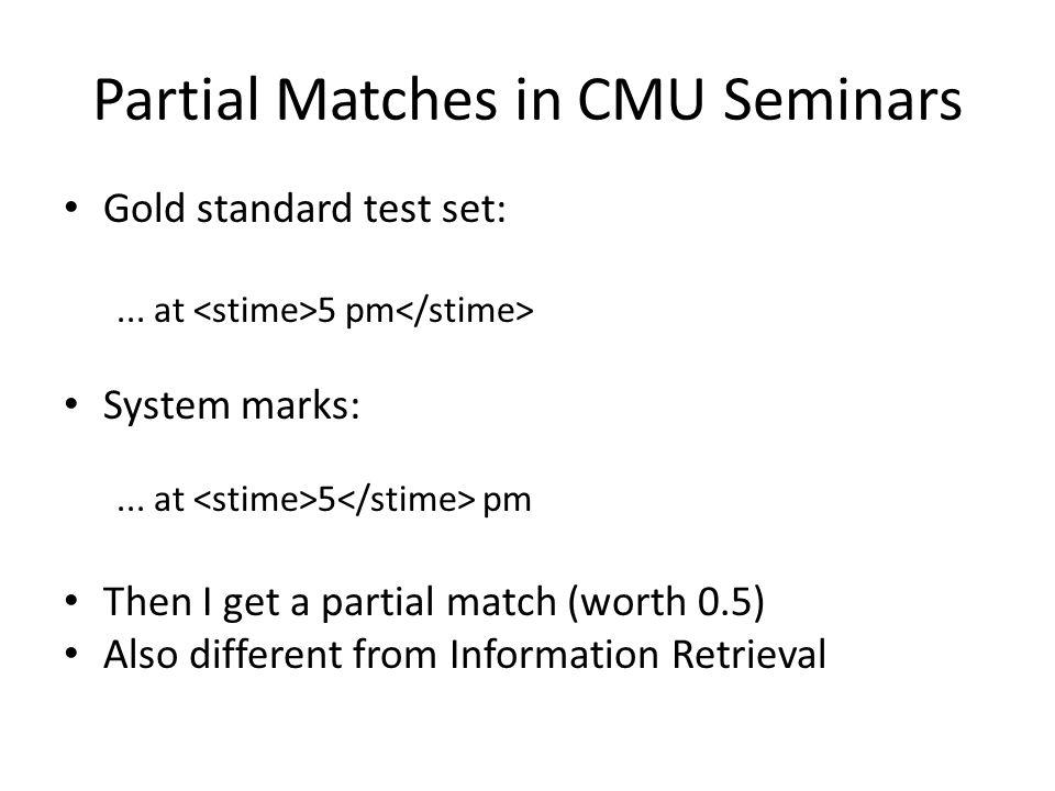 Partial Matches in CMU Seminars Gold standard test set:...