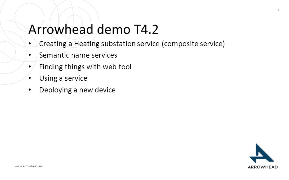 www.arrowhead.eu Arrowhead demo T4.2 Creating a Heating substation service (composite service) Semantic name services Finding things with web tool Usi