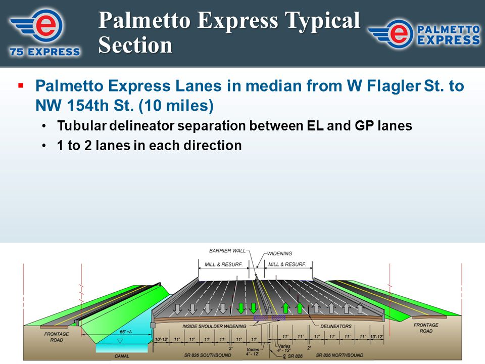 Palmetto Express Typical Section  Palmetto Express Lanes in median from W Flagler St. to NW 154th St. (10 miles) Tubular delineator separation betwee