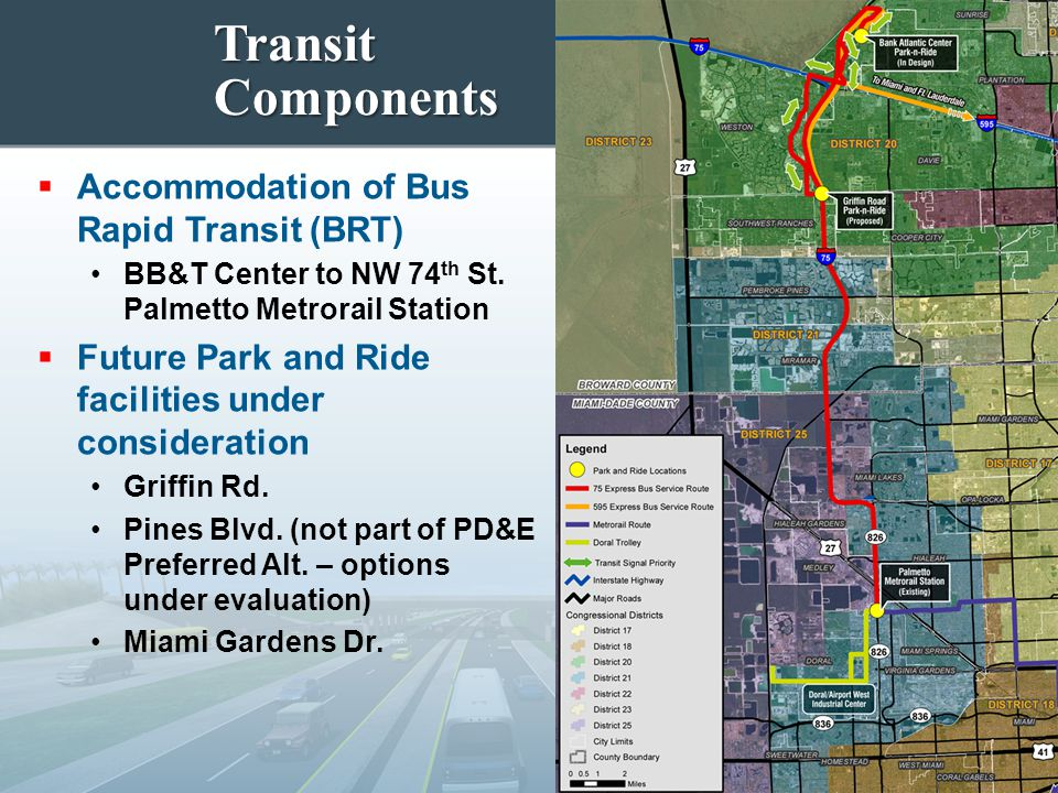 Transit Components  Accommodation of Bus Rapid Transit (BRT) BB&T Center to NW 74 th St. Palmetto Metrorail Station  Future Park and Ride facilities