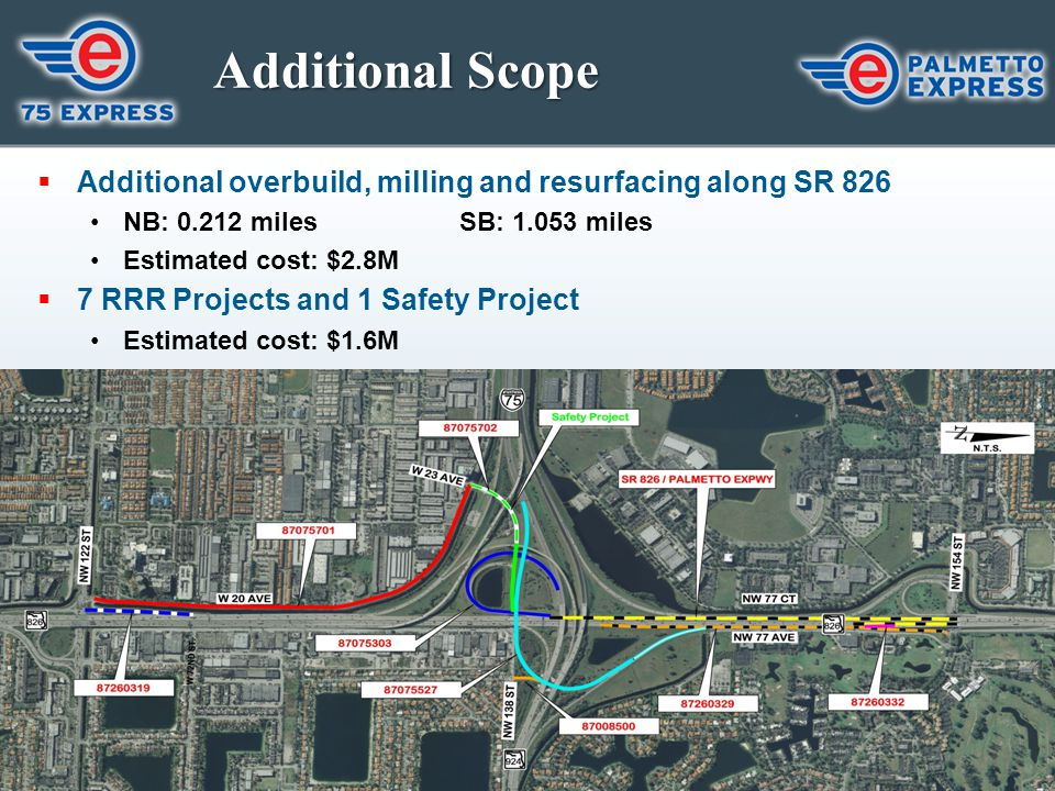 Additional Scope  Additional overbuild, milling and resurfacing along SR 826 NB: 0.212 milesSB: 1.053 miles Estimated cost: $2.8M  7 RRR Projects an